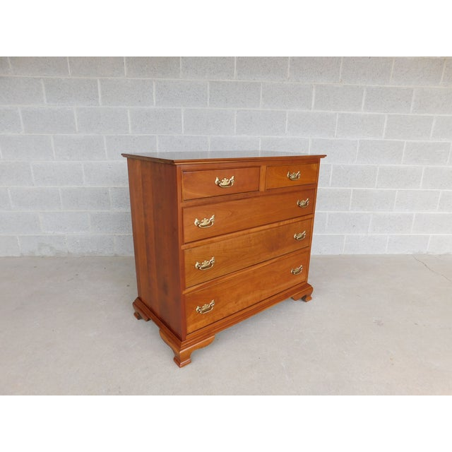 "L & J G Stickley Cherry Valley Chippendale Style 5 Drawer Chest 38""w For Sale - Image 10 of 10"