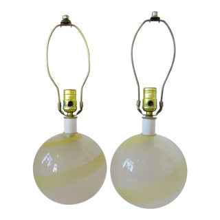 Italian Glass Globe Lamps - a Pair For Sale