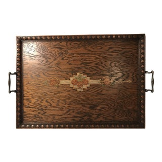 Antique English Wooden Handled Tea Tray For Sale