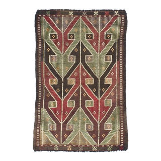 1960s Turkish Embroidered Kilim For Sale