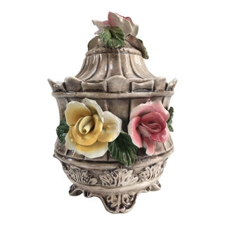 Vintage Crown Capodimonte Italian Porcelain Lidded Jar For Sale
