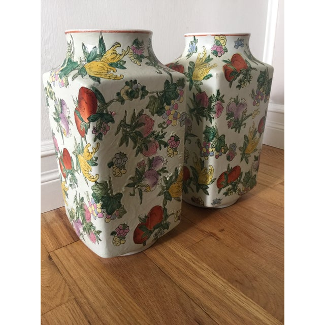 1970s 1970's Oriental Exotic Fruit Painted Vases - a Pair For Sale - Image 5 of 13