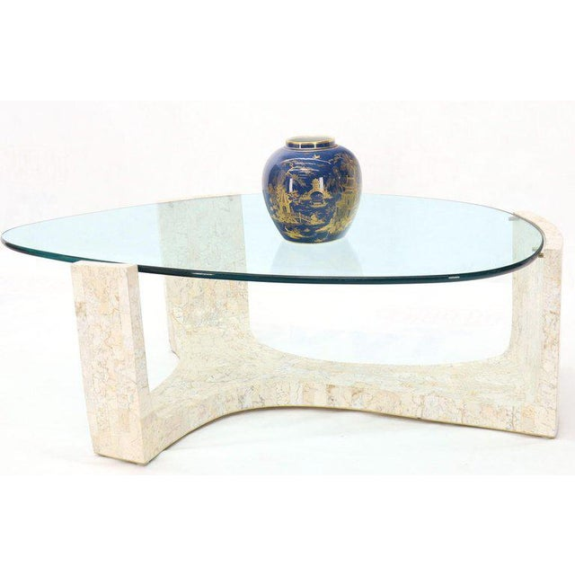 Stone Tessellated Stone Veneer Tile Organic Kidney Shape Coffee Center Table For Sale - Image 7 of 13