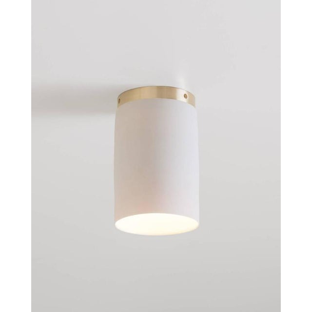 Brass Contemporary Surface White Porcelain & Brushed Brass Flush Mount Ceiling Light For Sale - Image 7 of 9