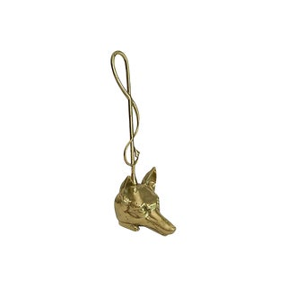 Footed Brass Fox Doorstop For Sale