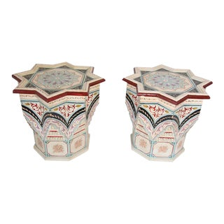 Mid 20th Century Moroccan Moorish Star Shape Ivory Painted Side Tables - a Pair For Sale