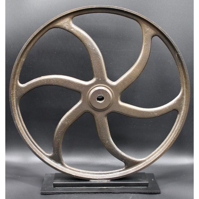 Vintage Lathe Wheel on Custom Mount For Sale In Tulsa - Image 6 of 10