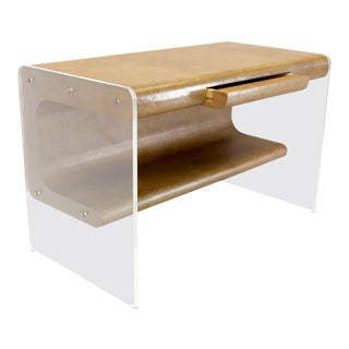 Lucite Base Faux Snake Skin Sculptural Shape One-Drawer Writing Table Desk For Sale