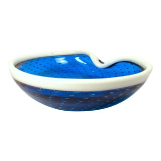 Fratelli Toso Murano Blue Art White Glass Rim and Bullicante Bowl