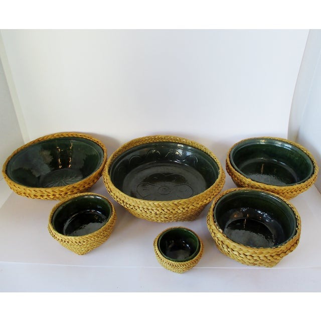 Ceramic & Wicker Nesting Bowls, Set of 6 For Sale - Image 9 of 9
