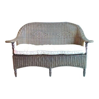 Vintage Nantucket-Style Wicker Loveseat For Sale