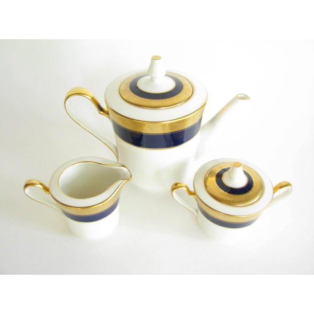 Vintage Noritake Cobalt and Gold Encrusted Band Tea Set - 21 Pieces For Sale - Image 11 of 13