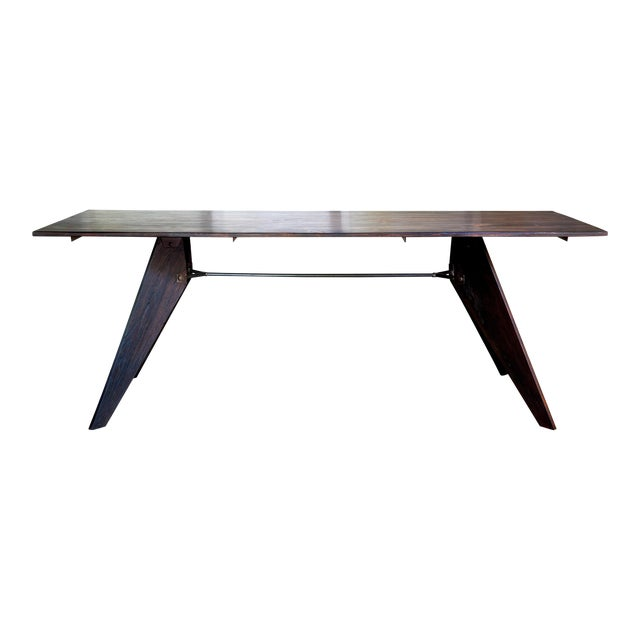 """Prouve Style Artisan Made Em Solvay Black Dining Conference Table - Black Brown 80"""" For Sale"""