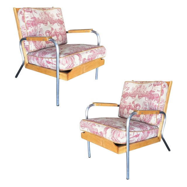 Mid-Century Francois Caruelle Style Blonde Lounge Chair, Pair For Sale
