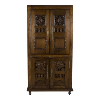 19th Century Jacobean Carved Oak Wardrobe
