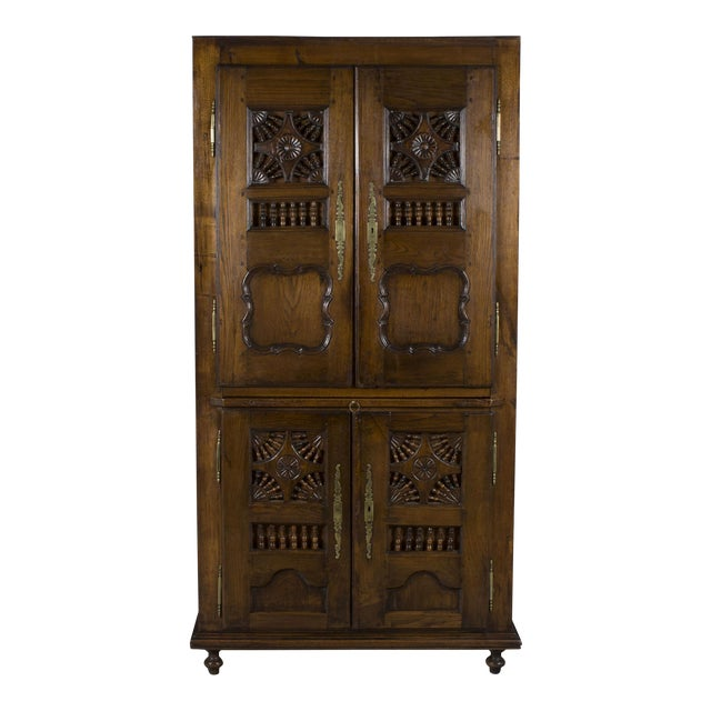 19th Century Jacobean Carved Oak Wardrobe For Sale
