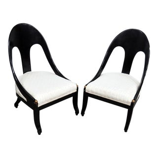 Early 21st Century Vintage Design Ebonized Club Chairs- A Pair For Sale