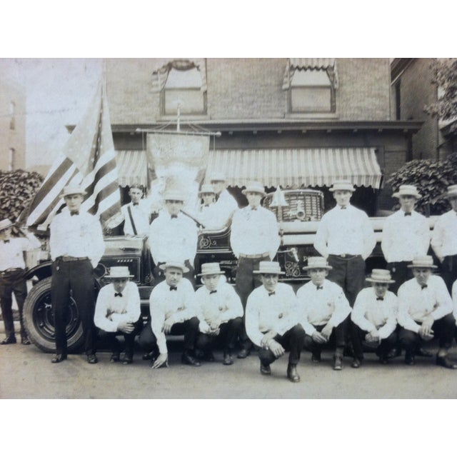 "Americana Early 20th Century Antique ""Fireman of Port Vue, Pa"" Mounted Black & White Photograph For Sale - Image 3 of 4"