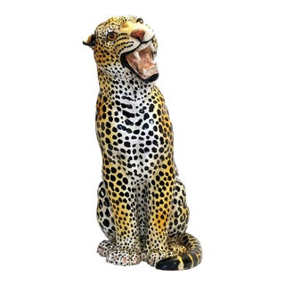 Vintage Italian Ceramic Seated Cheetah Leopard Sculpture - Signed Italy in Three Places For Sale