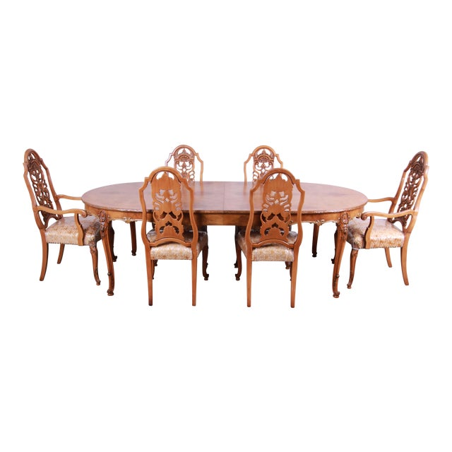 1960s Romweber Ornate Burl Wood French Carved Extension Dining Table & Six Chairs - Set of 6 For Sale