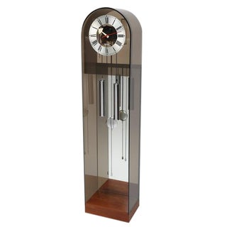 1970's VINTAGE HOWARD MILLER SMOKED-LUCITE GRANDFATHER CLOCK For Sale
