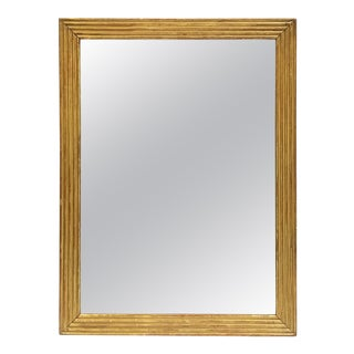 Large English Rectangular Mirror with Ribbed Gilt Frame (H 39 1/2 x W 29 1/2) For Sale