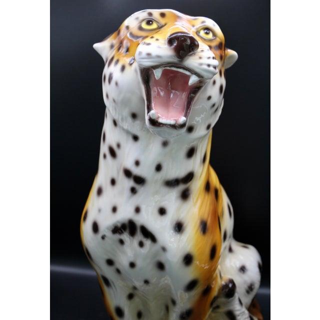 Ceramic Monumental Italian Ceramic Leopard Statue For Sale - Image 7 of 13