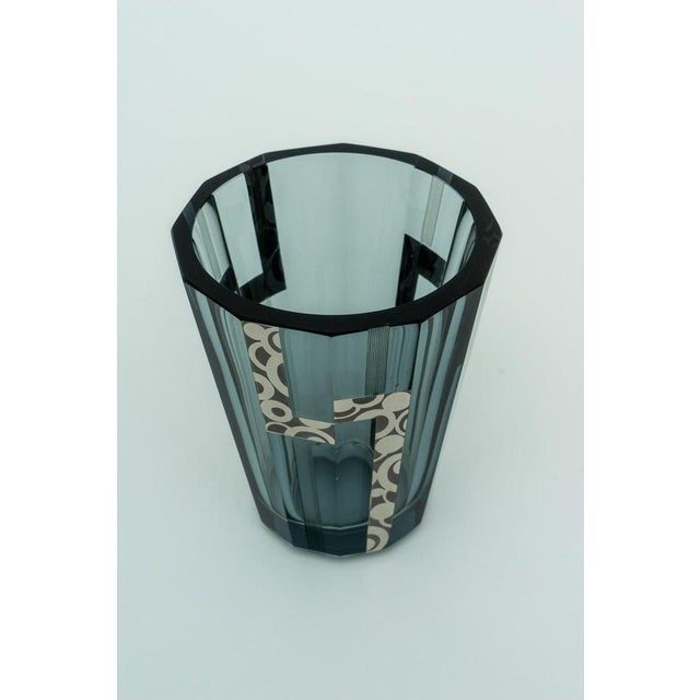 Josef Hoffmann 1920s Art Deco Crystal Vase With Silver Overlay For Sale - Image 4 of 9