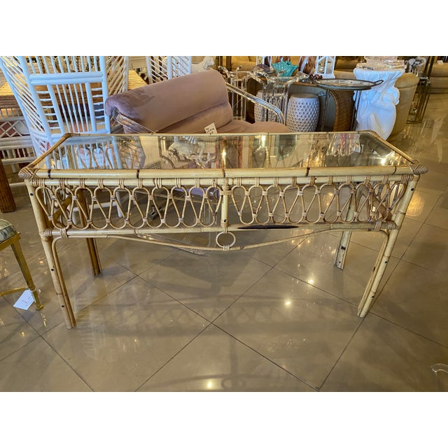 Vintage Tropical Palm Beach Rattan Glass Top Console Sofa Table For Sale - Image 9 of 12