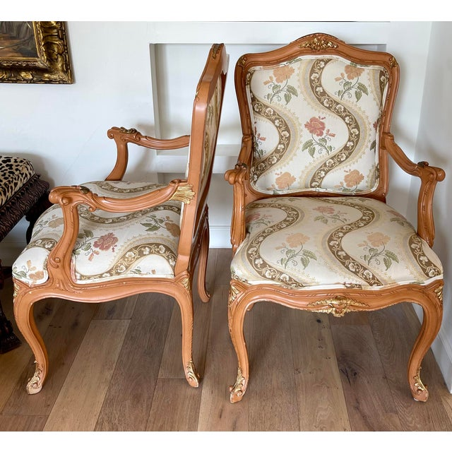 Lewis Mittman French Louis XV Style Arm Chairs - a Pair For Sale In Los Angeles - Image 6 of 8