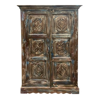 1920s Rustic Blue Reclaimed Wood Armoire For Sale