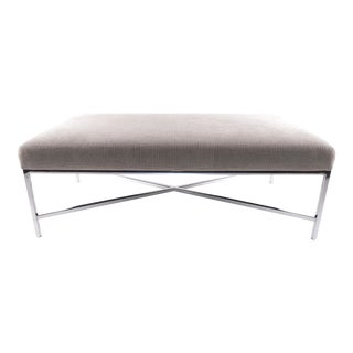 Grey Fabric Upholstered Chrome Bench For Sale