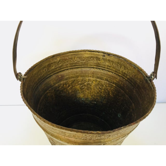 Gold Anglo-Raj Mughal Bronzed Copper Vessel Bucket For Sale - Image 8 of 12