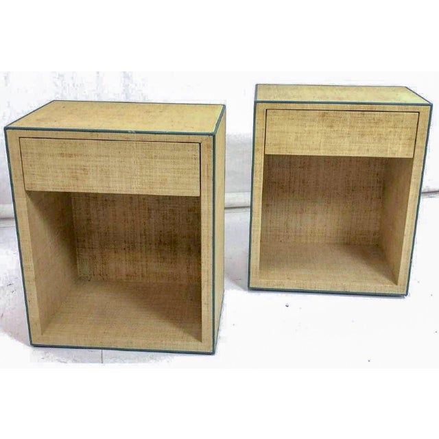 Pair of Modern Karl Springer Style Lacquered Grasscloth Nightstands Tables For Sale - Image 4 of 5