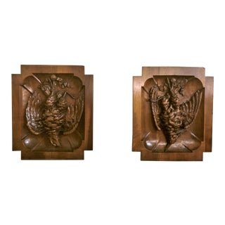 "Pair Antique Walnut ""Master Carvings"" Wall Plaques, Circa 1880. For Sale"
