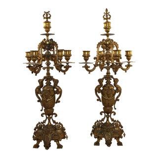 Circa 1880 Napoleon III Gilt Bronze Candelabras - A Pair For Sale