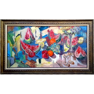 """Mid Century Abstract Still Life """"Table With Fruit"""" Oil Painting For Sale"""