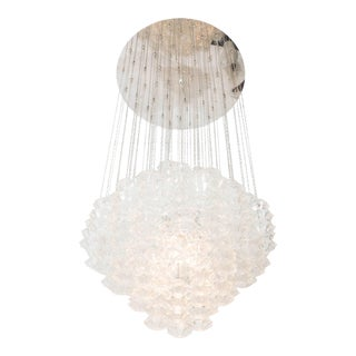 Modern Chrome Frame Chandelier with Suspended Murano Glass Drops For Sale
