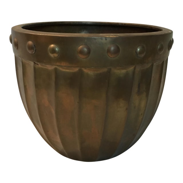 Fluted Brass Planter For Sale