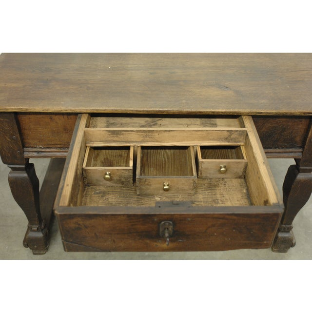 antique wood desk with lock and hidden drawers chairish. Black Bedroom Furniture Sets. Home Design Ideas