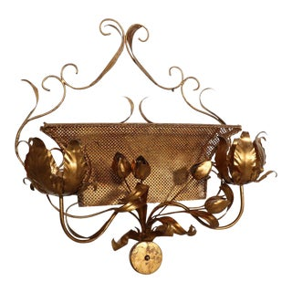 Italian Gilded Lighted Wall Sconce For Sale