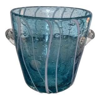 Murano Glass Aqua Blue & White Striped Ice Bucket For Sale