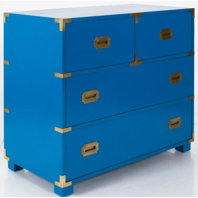 1970s Newly Refinished Baker Blue Campaign Dresser - Image 2 of 6