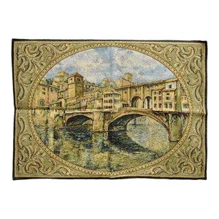 "26"" X 42"" French Wall Hanging Tapestry Jacquard Ponte Vecchio Bridge Landscape"