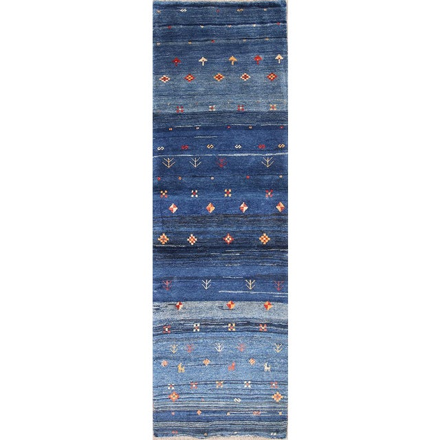 Blue Blue Persian Gabbeh Rug - 2′11″ × 9′7″ For Sale - Image 8 of 8