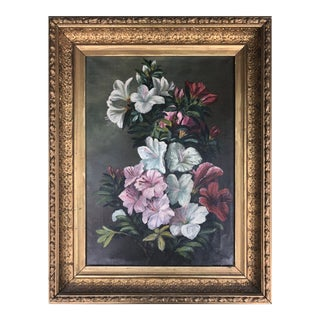 19th C Floral Still Life of Lillies Oil Painting on Canvas