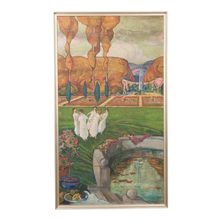 Large French Early 20th Century Art-Nouveau Oil-On-Canvas For Sale
