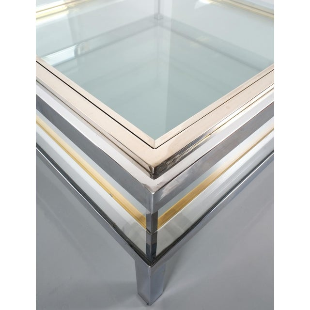 Refurbished Large Maison Jansen Brass and Chrome Vitrine Coffee Table, 1970 For Sale - Image 11 of 12