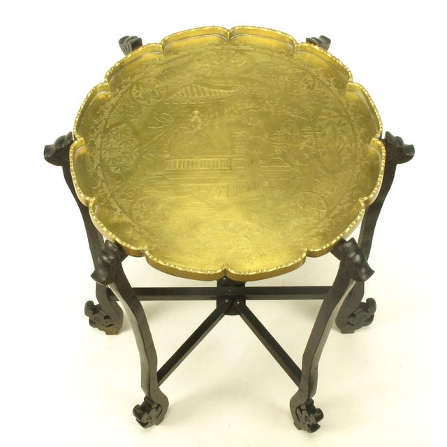 Carved Ebony Folding Table with Etched Brass Tray Top For Sale - Image 4 of 9