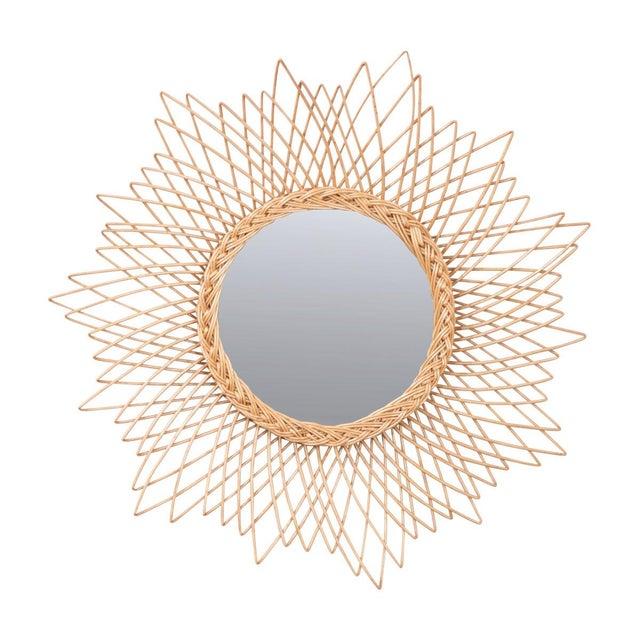 English Vintage Rattan Sunburst Mirror For Sale - Image 11 of 11
